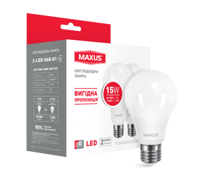 Лампа Maxus А70 15 W 4100К 220V E27 (568-01) 2 шт