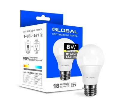 Лампа Global LED A60 8W 3000K 220V E27