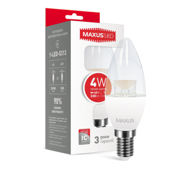 Лампа Maxus 4 W E14 свеча