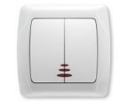 Выключатель VIKO двойной внутр. белый с подсветкой