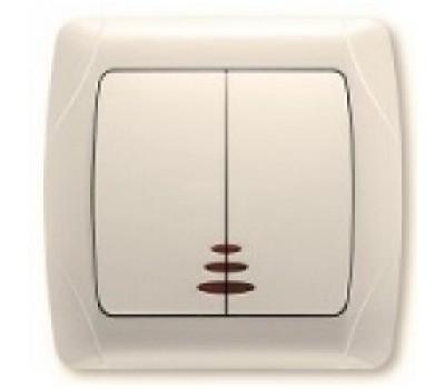 Выключатель VIKO двойной внутр. крем с подсветкой