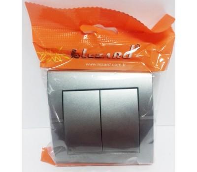 Выключатель DERIY двойной темно-серый метал. 702-2